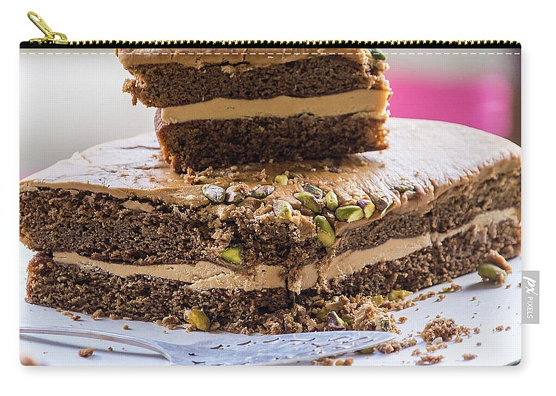 Baked Carry-all Pouch featuring the photograph Organic Coffee And Pistachio Cake A by Jacek Wojnarowski