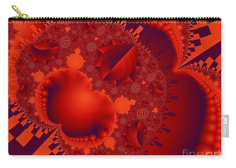 Fractal Image Carry-all Pouch featuring the digital art Organics Over Geometrics In Red by Ron Bissett