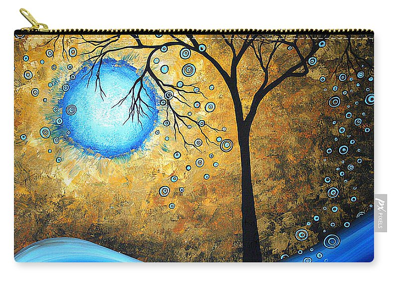 Abstract Carry-all Pouch featuring the painting Orginal Abstract Landscape Painting Blue Fire By Madart by Megan Duncanson