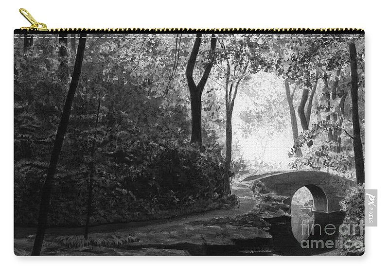 Black And White Carry-all Pouch featuring the painting Oriental Garden by Lynn Quinn