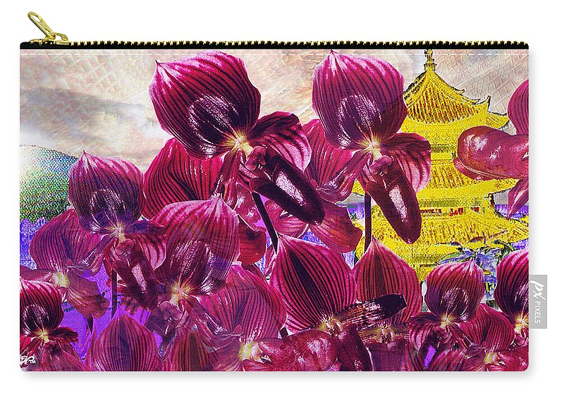 Far East Carry-all Pouch featuring the digital art Oriental Orchid Garden by Seth Weaver