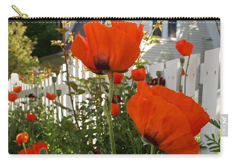 Poppies Carry-all Pouch featuring the photograph Oriental Poppies by Heather Coen