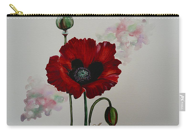 Floral Poppy Red Flower Carry-all Pouch featuring the painting Oriental Poppy by Karin Dawn Kelshall- Best