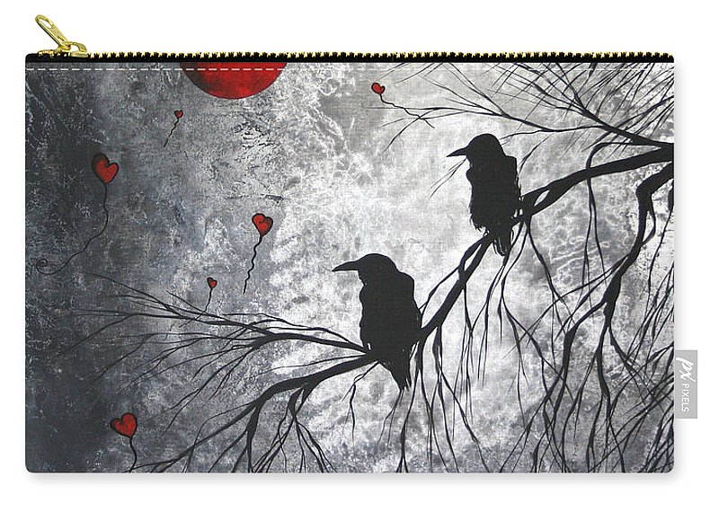 Birds Carry-all Pouch featuring the painting Original Abstract Surreal Raven Red Blood Moon Painting The Overseers by MADART by Megan Duncanson