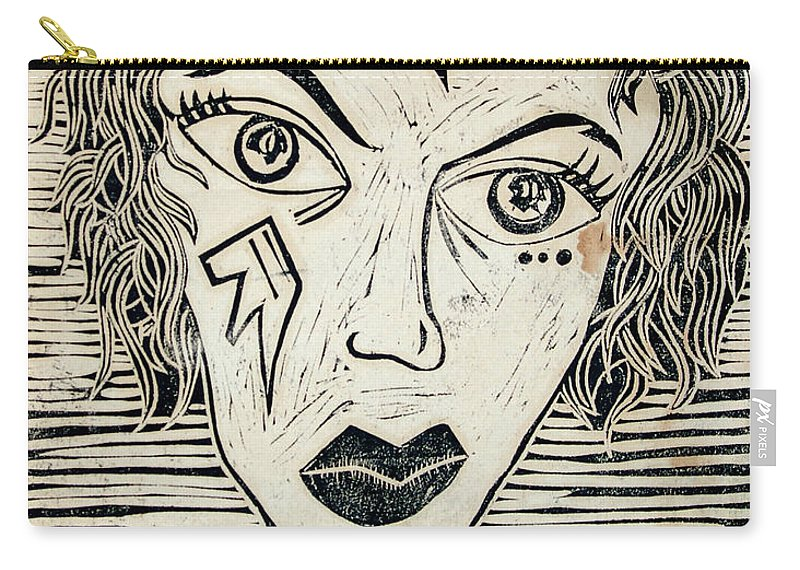 Block Print Carry-all Pouch featuring the print Original Devil Block Print by Thomas Valentine