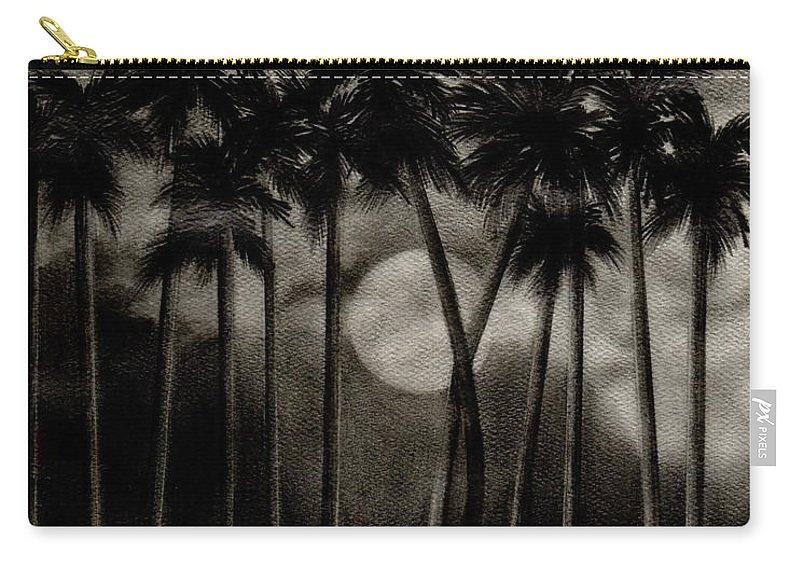 Original Moonlit Palm Trees Carry-all Pouch featuring the drawing Original Moonlit Palm Trees by Larry Lehman