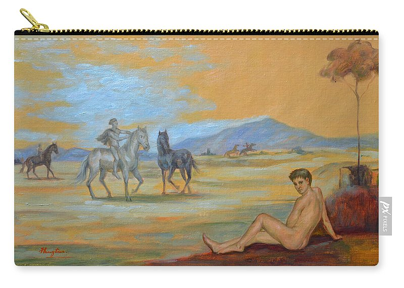 Original. Oil Painting Art Carry-all Pouch featuring the painting Original Oil Painting Art Male Nude With Horses On Canvas #16-2-5 by Hongtao   Huang
