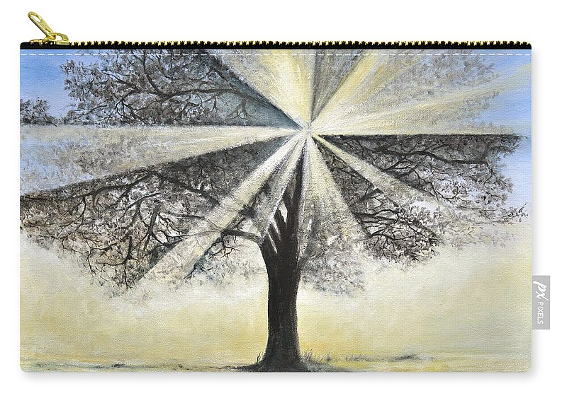 Tree Painting Carry-all Pouch featuring the painting original Tree Light by Penny Neimiller