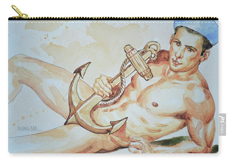 Male Nude Carry-all Pouch featuring the painting Original Watercolor Painting Artwork Sailor Male Nude Man Gay Interest On Paper #9-015 by Hongtao Huang