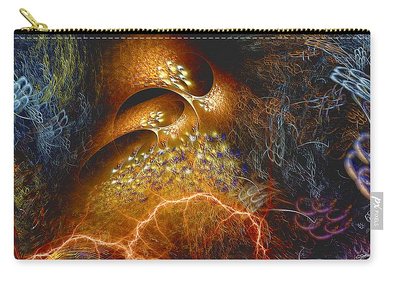 Abstract Carry-all Pouch featuring the digital art Origination by Casey Kotas