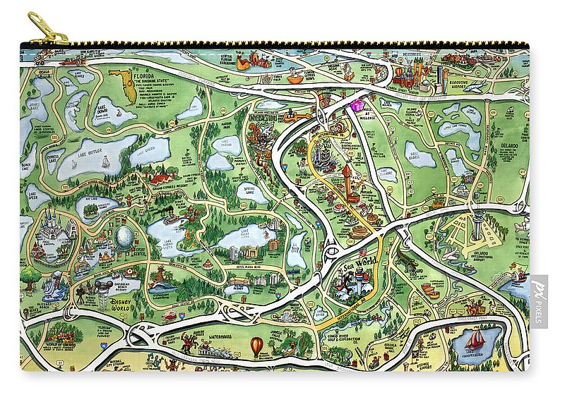 Orlando Carry-all Pouch featuring the digital art Orlando Florida Cartoon Map by Kevin Middleton