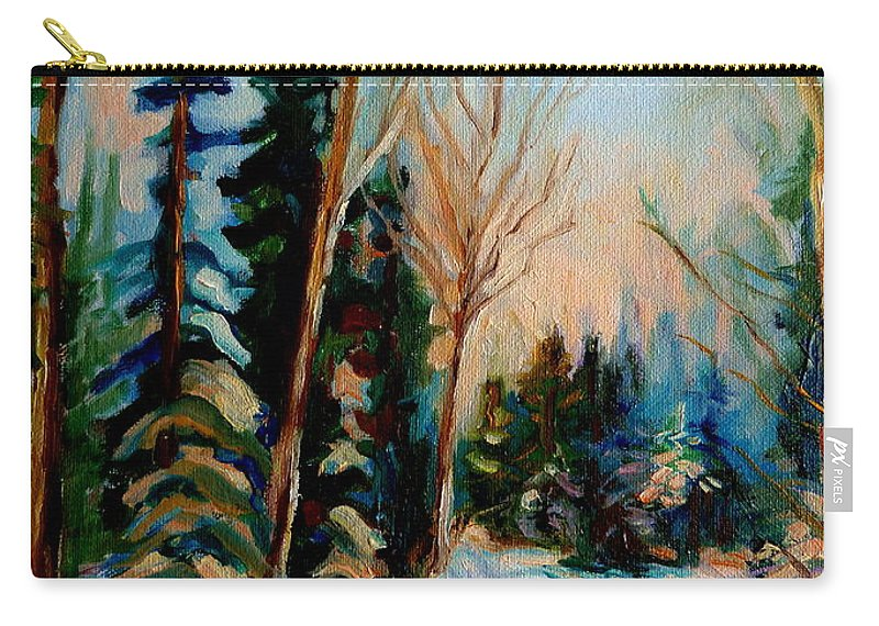 Ormstown Quebec Winter Road Carry-all Pouch featuring the painting Ormstown Quebec Winter Road by Carole Spandau