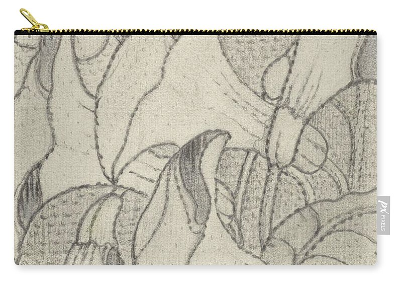 Art Carry-all Pouch featuring the painting Ornament With Lilies, Herman Antonius Van Daalhoff, 1953 - 1977 by Herman Antonius