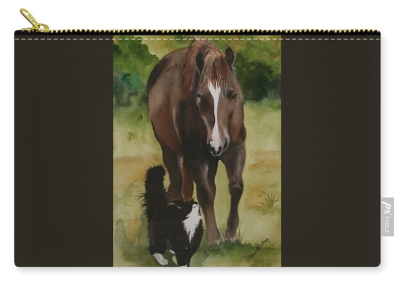 Horse Carry-all Pouch featuring the painting Oscar and Friend by Jean Blackmer