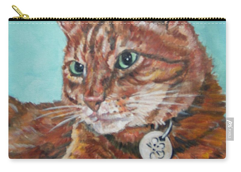 Cat Carry-all Pouch featuring the painting Oscar by Bryan Bustard