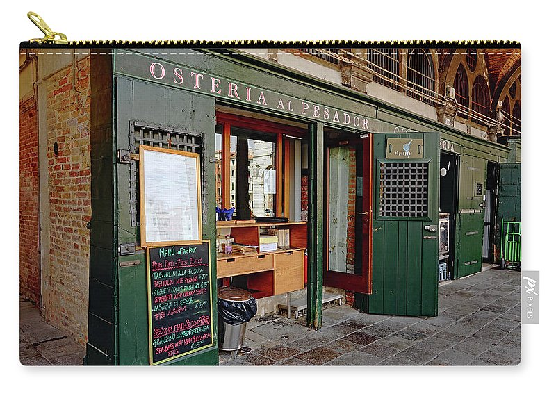 Osteria Al Pesador Carry-all Pouch featuring the photograph Osteria Al Pesador At The Rialto Market In Venice, Italy by Richard Rosenshein