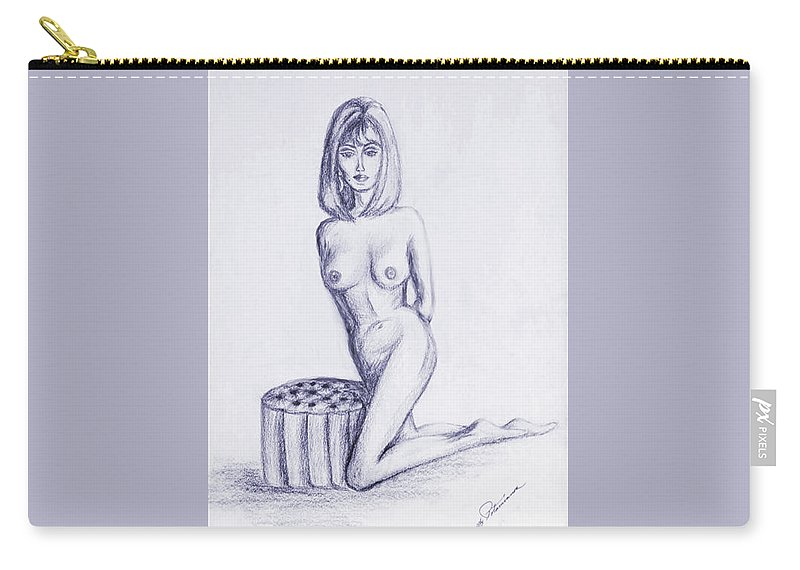 Nude Female Carry-all Pouch featuring the drawing Ottoman II by Elly Potamianos