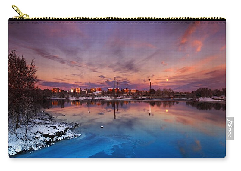 Panorama Carry-all Pouch featuring the photograph Oulu Moonrise Panorama by Sandra Rugina