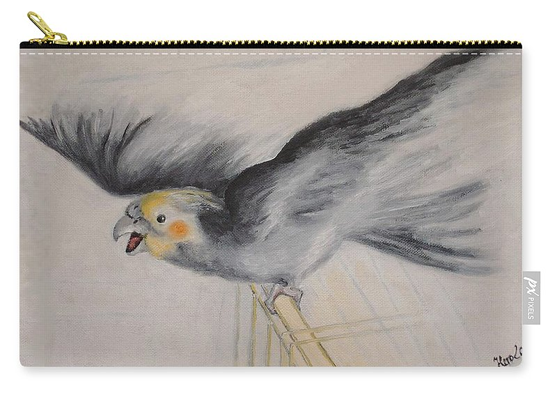 Cockatiel.pet Carry-all Pouch featuring the painting our cockatiel Coco by Helmut Rottler