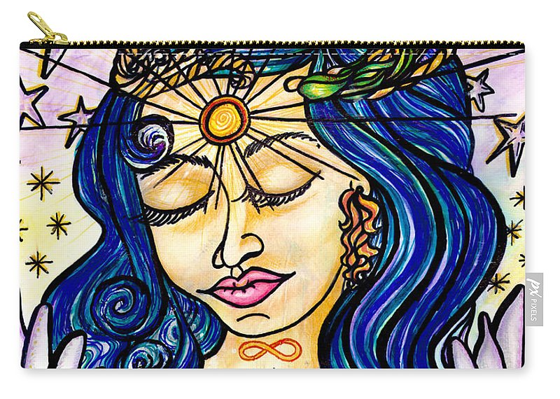 Spiritual Carry-all Pouch featuring the painting Our Lady Of Self Blessing by Camille Roman