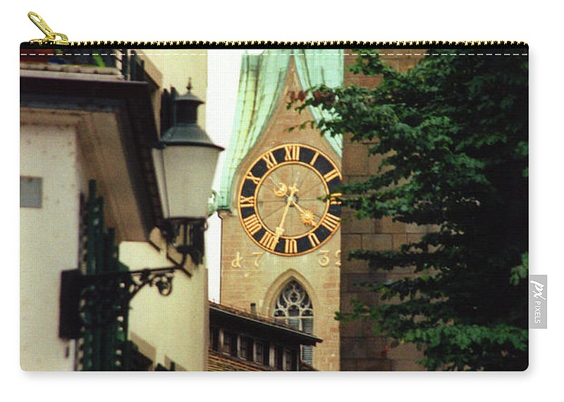 Fraumuenster Carry-all Pouch featuring the photograph Our Ladys Minster Church In Zurich Switzerland by Susanne Van Hulst