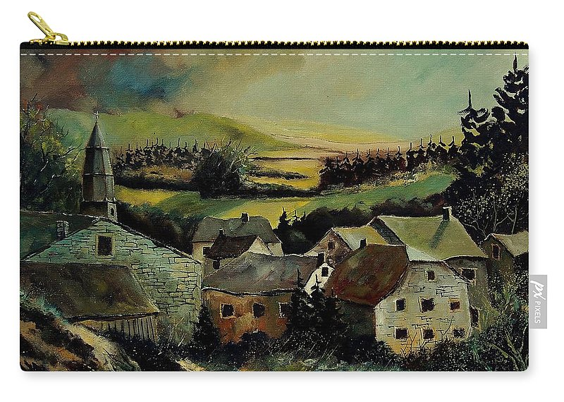 Village Carry-all Pouch featuring the painting Our Opont Belgium by Pol Ledent