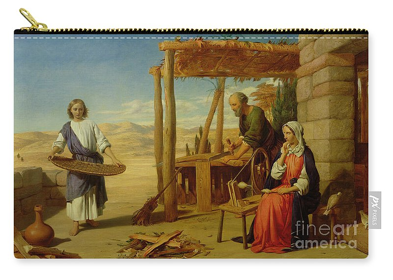 Pre-raphaelite Carry-all Pouch featuring the painting Our Saviour Subject To His Parents At Nazareth by John Rogers Herbert