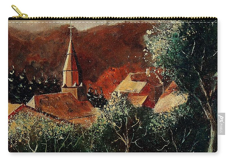 Tree Carry-all Pouch featuring the painting Our Village Opont by Pol Ledent