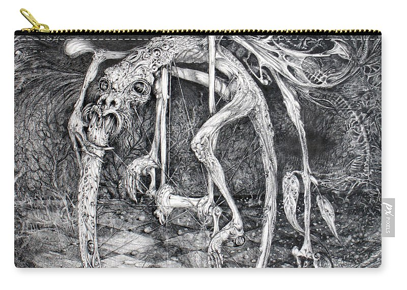 Ouroboros Carry-all Pouch featuring the drawing Ouroboros Perpetual Motion Machine by Otto Rapp