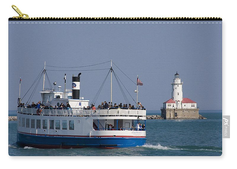 Boat Tour Tourism Tourist Attraction Chicago Windy City Ride Lighthouse Lake Michigan Water Sky Wake Carry-all Pouch featuring the photograph Out For A Ride by Andrei Shliakhau