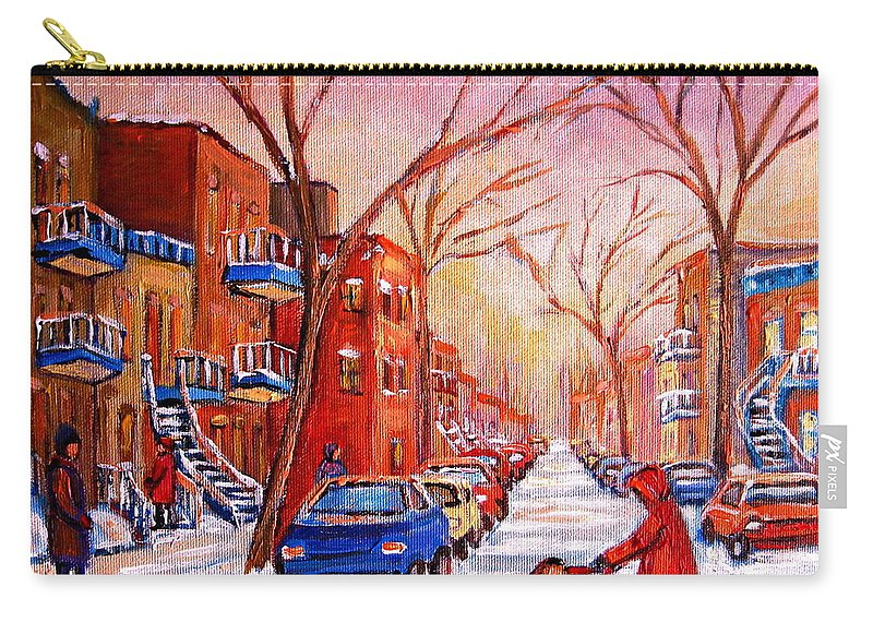 Montreal Carry-all Pouch featuring the painting Out For A Walk With Mom by Carole Spandau