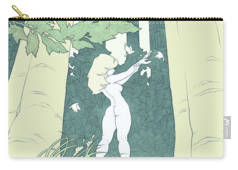 Elf Carry-all Pouch featuring the drawing Out Of Hand by Tommy Hunt