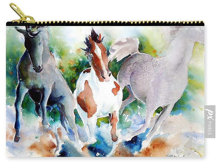 Horses Carry-all Pouch featuring the painting Out Of Nowhere by Christie Martin
