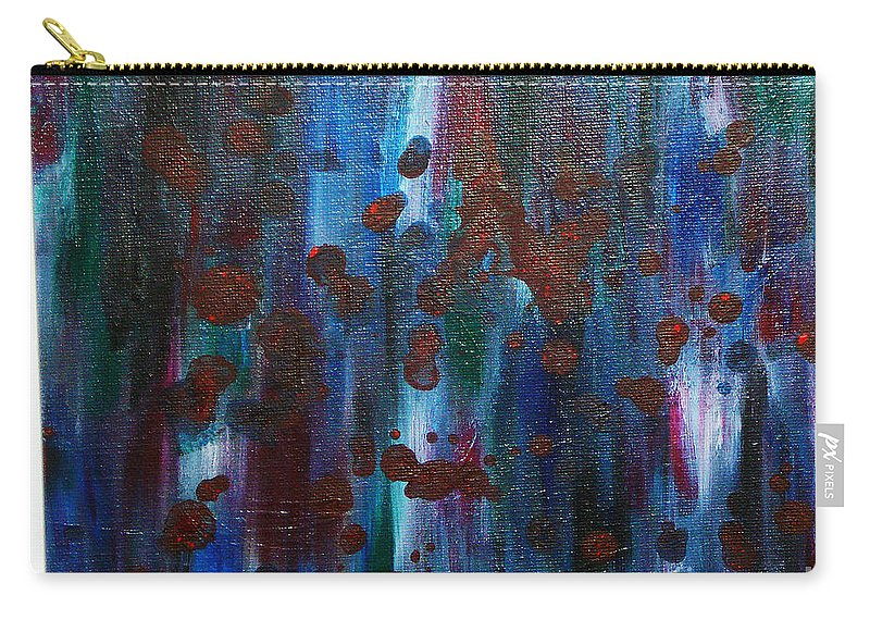 Acrylic Painting Carry-all Pouch featuring the painting Out Of The Blue by Yael VanGruber