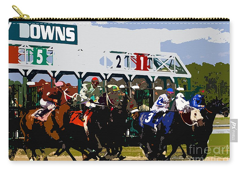 Horse Carry-all Pouch featuring the painting Out Of The Gate by David Lee Thompson