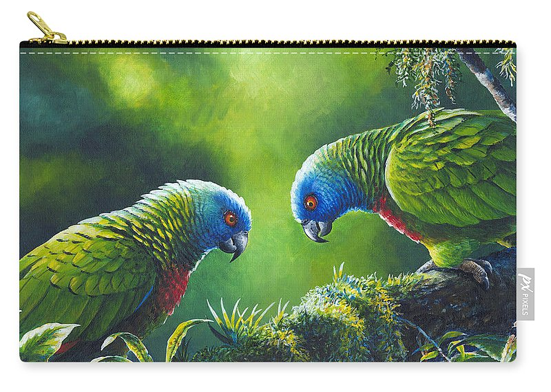 Chris Cox Carry-all Pouch featuring the painting Out On A Limb - St. Lucia Parrots by Christopher Cox