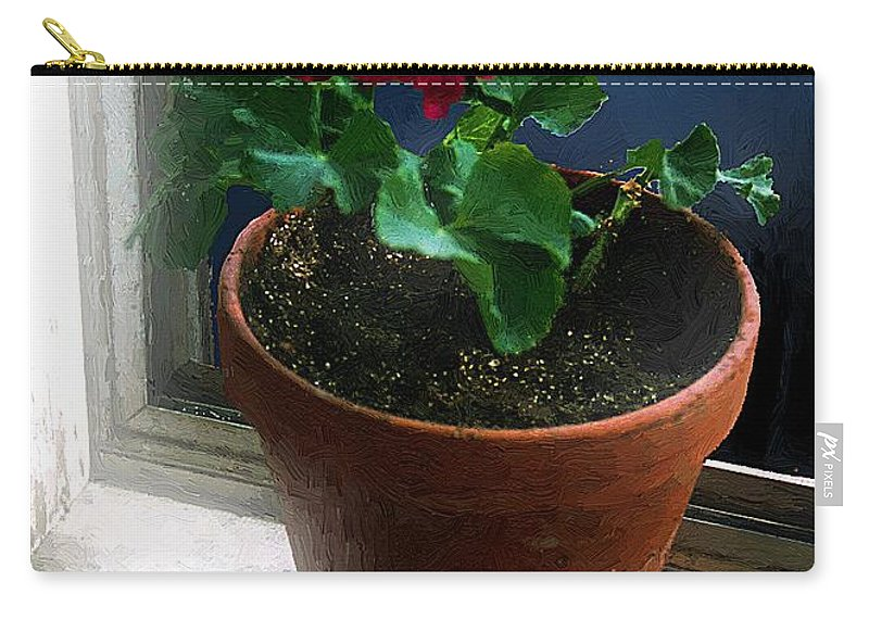 Clay Pot Carry-all Pouch featuring the painting Out On The Old Sunporch by RC DeWinter