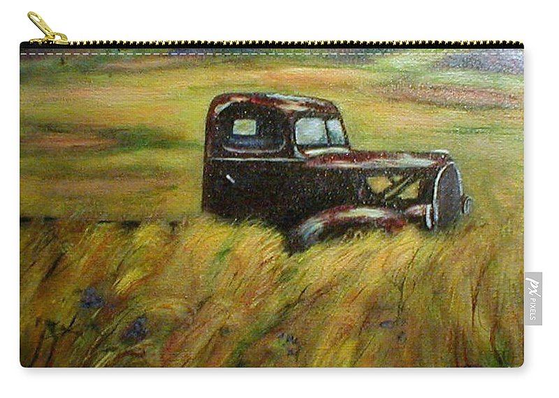 Vintage Truck Carry-all Pouch featuring the painting Out To Pasture by Gail Kirtz
