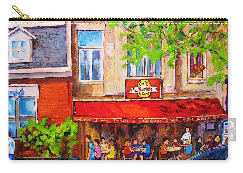 Montreal Carry-all Pouch featuring the painting Outdoor Cafe by Carole Spandau