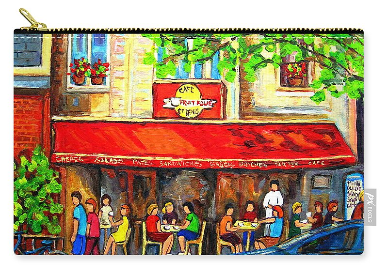 Outdoor Cafe On St. Denis Carry-all Pouch featuring the painting Outdoor Cafe On St. Denis In Montreal by Carole Spandau