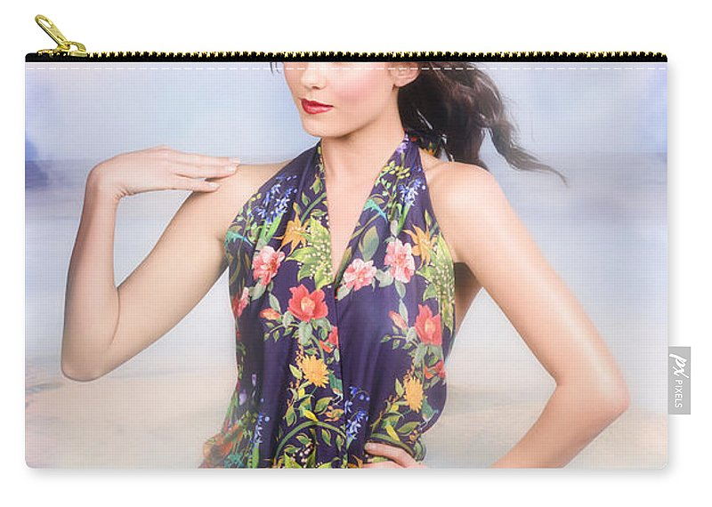 Fashion Carry-all Pouch featuring the photograph Outdoor Fashion Portrait. Spring Twilight Beauty by Jorgo Photography - Wall Art Gallery