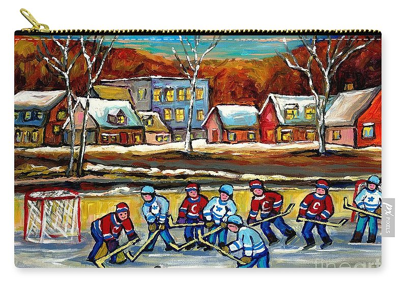 Country Hockey Rink Carry-all Pouch featuring the painting Outdoor Hockey Rink by Carole Spandau