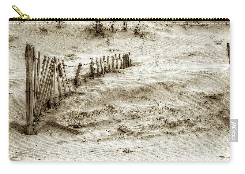 Sand Carry-all Pouch featuring the photograph Outer Banks Beach Sand Fence by Randy Steele