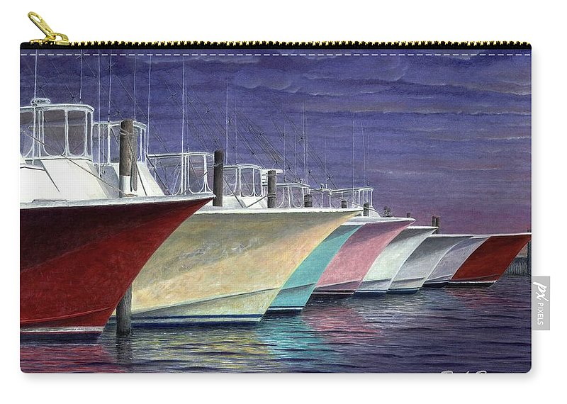 Outerbanks Carry-all Pouch featuring the painting Outer Banks Line-up by Rick Bogert
