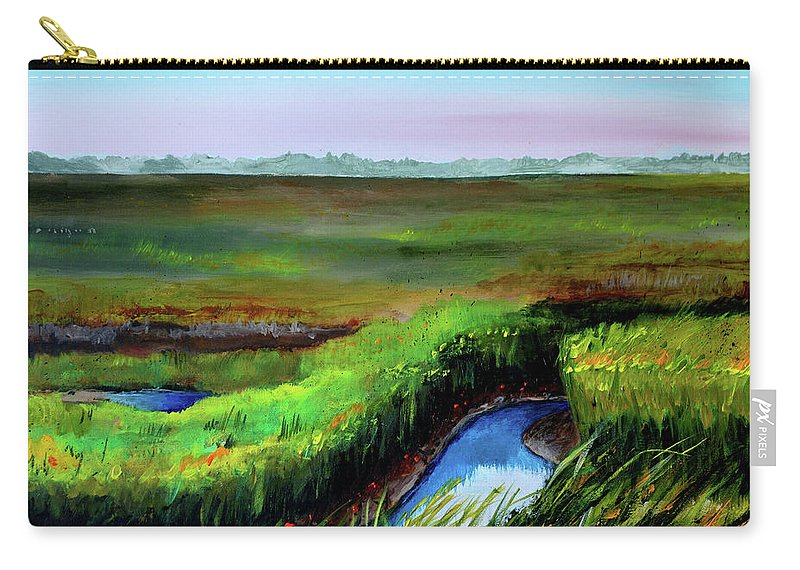 Jersey Shore Carry-all Pouch featuring the painting Outgoing Tide by Phyllis London