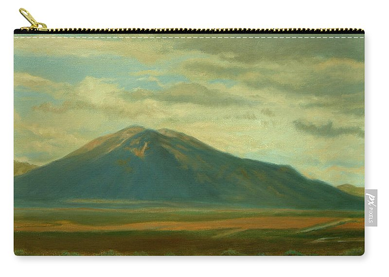 Southwest Carry-all Pouch featuring the painting Outside Of Taos by Phyllis Tarlow