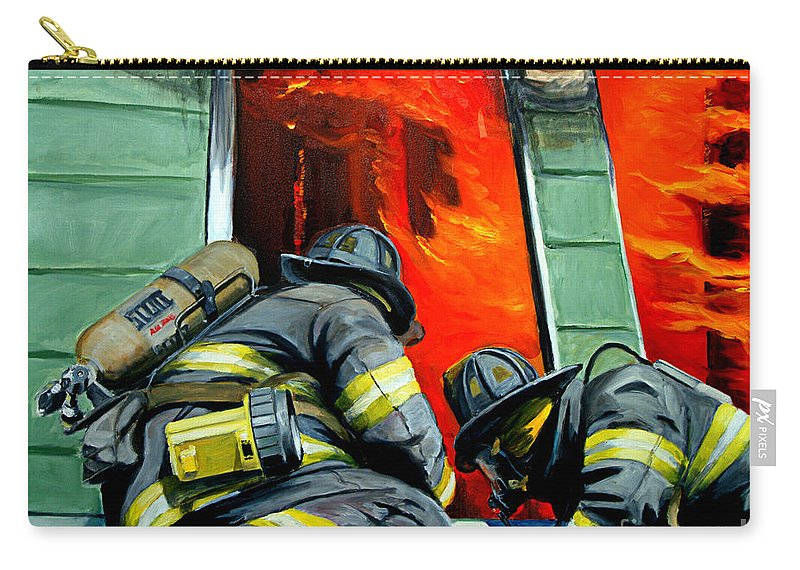 Firefighting Carry-all Pouch featuring the painting Outside Roof by Paul Walsh