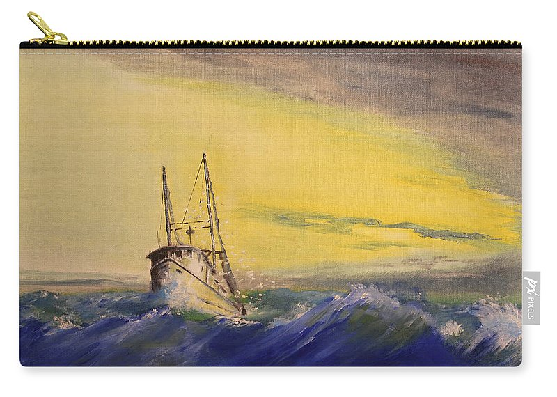 Boat Carry-all Pouch featuring the painting Outside The Jetty by Christopher Jenkins