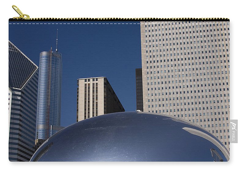 Chicago Windy City Wind Blue Sky Art Bean Building Skyscraper Tall High Big Large Reflection Carry-all Pouch featuring the photograph Over The Bean by Andrei Shliakhau