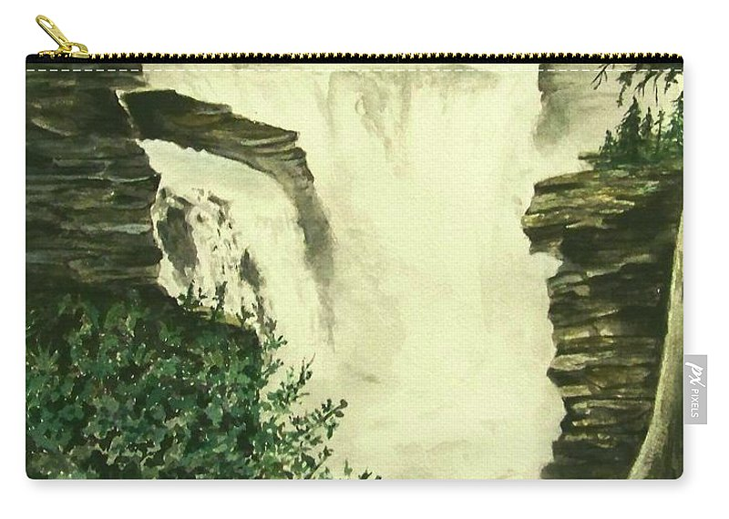 Landscape Watercolor Waterfall Scenic Scenery Landscape Rocks Trees Moss Carry-all Pouch featuring the painting Over The Edge by Brenda Owen